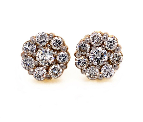 14K Yellow Gold 1.70 TCW Natural Diamond 10 mm Stud Earrings VS1-2