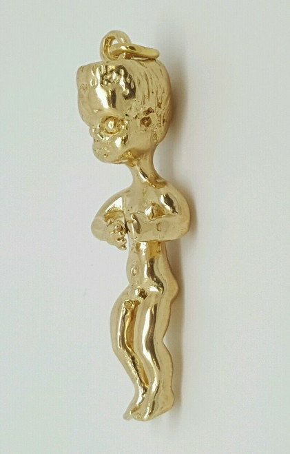 14k Solid Yellow Gold Baby Boy 3D Pendant Figurine Highly Detailed 32mm 9.7 Gram