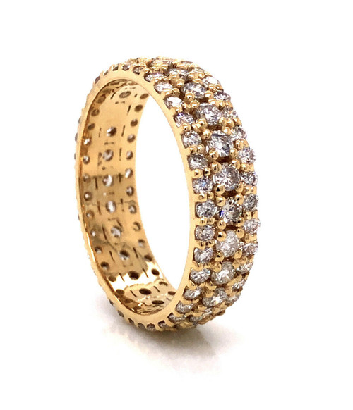 14K Solid Yellow Gold 2.33 Ct Natural Diamond Mens,Womens Eternity Ring VS1-2, G