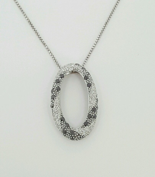 14k white gold genuine white & black diamond oval shape pendant and linked chain