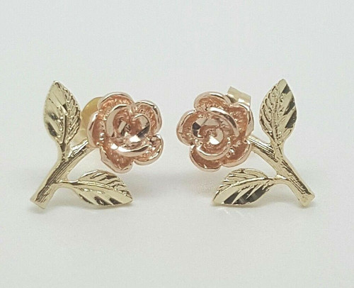 14k Solid Yellow and Rose Gold Rose Flower Stud Earrings Push Back 11 MM