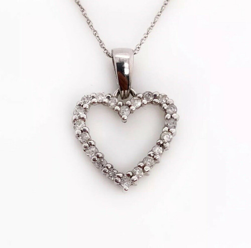 Real 10K White Gold 0.30TCW Natural Diamond Heart Pendant and Chain Necklace 18""