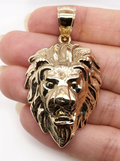 "Mens 10K Solid Yellow Gold Lion Head Face Pendant Charm 7.6 Grams, 2.16"" Large"