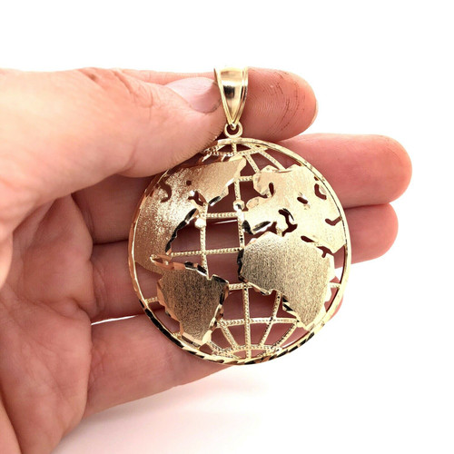 "10K Solid Yellow Gold Round Globe Planet Earth World Map Pendant 2"" 12 Grams"