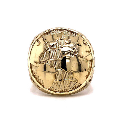 Mens 10K Solid Yellow Gold Globe Earth Map Biker's Ring 7.5 Grams Size 12