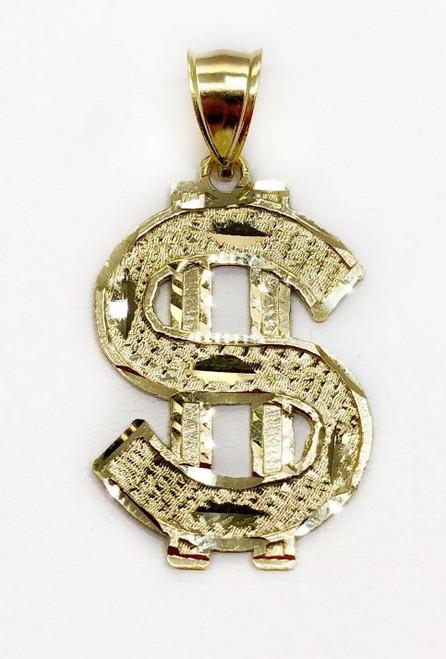 "10K Yellow Gold Diamond Cut Dollar Sign Men/ Women Pendant 2.3 Grams, 1.14"""