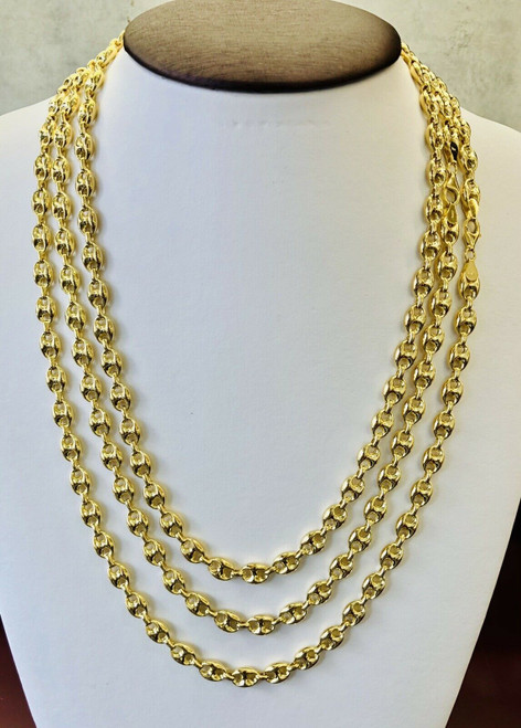 14k Yellow Gold Gucci Puff Link Chain Necklace 8 MM, 22,24,26 inches