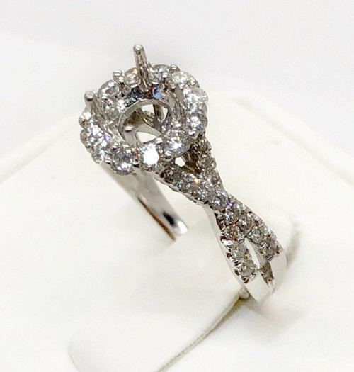 0.97 Ct Diamond 14k White Gold Semi Mount Engagement Ring for 6mm Round Center