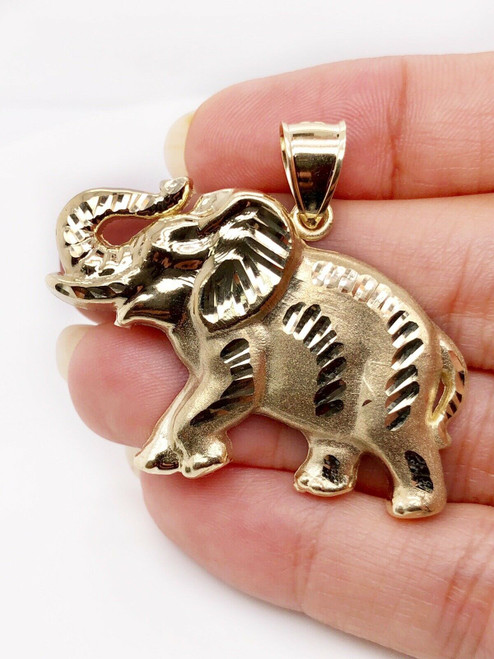 10K Solid Yellow Gold Large Lucky Elephant Charm Pendant 7.5 Grams 1.96""