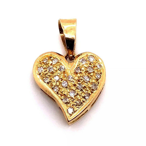 18k Yellow Gold 0.18 TCW Natural Diamond Heart Pendant Necklace