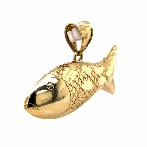 "10K Yellow Gold 3D Fish Pendant 1.57"""