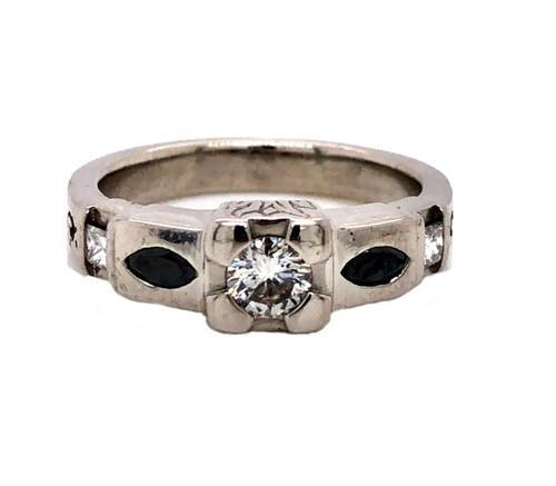 Vintage Art Deco Palladium 0.60 TCW Natural Diamond Ring VS2, G