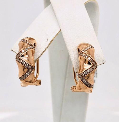 14K Solid Rose Gold 0.34 Ct Natural Diamond Huggie Earrings