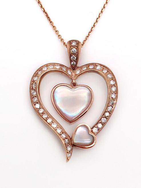 0.46 CARAT G VS2 Natural Diamond Mother Of Pearl Heart Pendant 18K Rose Gold