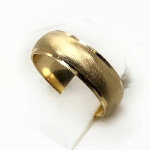 14K Yellow Gold Size 6 ,6 MM Matte Finish Shiny Sides Wedding Ring Band Unisex
