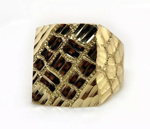 Solid 10k Yellow Gold Men Large Nugget Ring 9.1 Grams Size 11