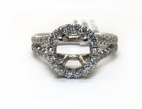 18K Solid White Gold 1.0 Ct Natural Diamond Semi Mount Ring Center 7.5 MM