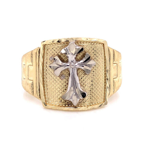 10K Solid Yellow Gold Men's Cross Ring 4.8 Grams, Size 12