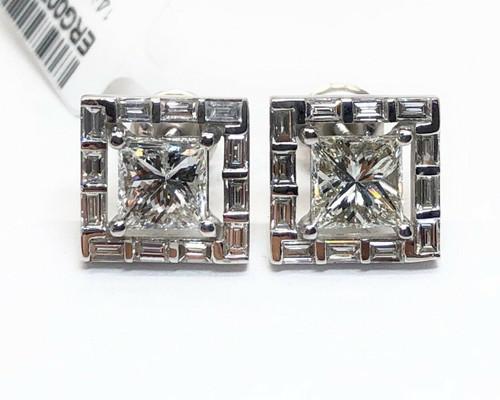 2.28 Ct Princess Cut Diamond 14K White Gold Square Stud Earrings Unisex, SI1,G-H