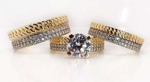 14K Yellow Gold Trio Set Wedding,Engagement Ring Mens & Women 2 Ct Round Center
