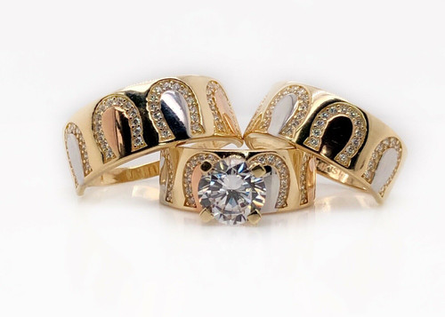 14K Yellow Gold Trio Set Wedding,Engagement Ring Mens & Womens Horse Shoe Lucky
