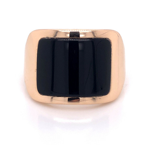 18K Solid Yellow Gold Mens Onyx Wide Ring 12.9 Grams