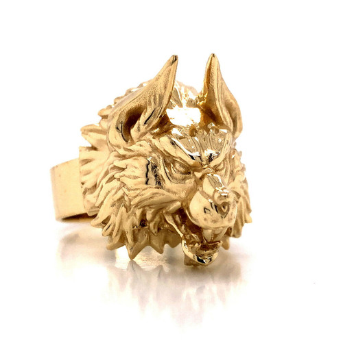 Mens 14k Solid Yellow Gold Highly Detailed 3D Wolf's Head Ring 19.3 Grams