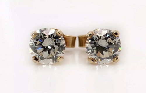 1.00 TCW Natural Round Diamond Solitaire Stud Earrings 14k Yellow Gold