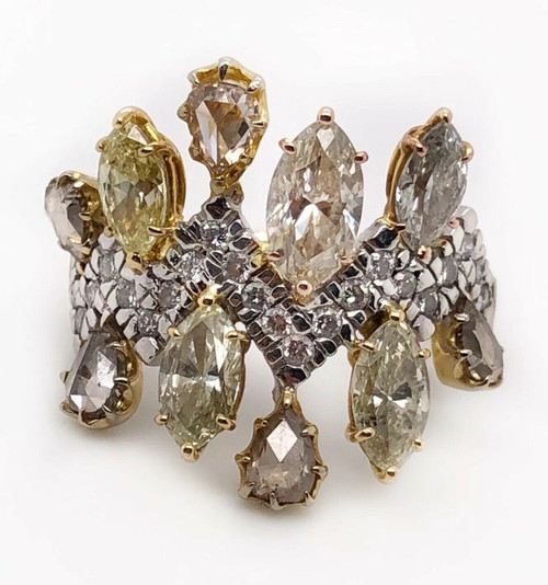 3.51 TCW Natural Diamond 18K White & Yellow Gold Women's Wide Cluster Ring