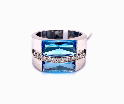 14k White Gold Natural 5.85 TCW Diamond & Blue Topaz Wide Ring