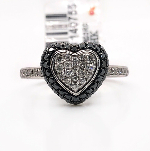 14K White Gold 0.66 TCW Natural White And Black Diamond Heart Ring