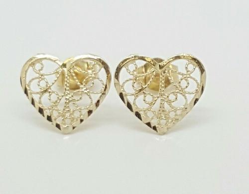 14k Solid Yellow Gold Heart Stud Earrings Women/Children Push Back 10MM