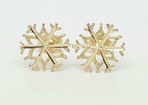 14k Solid Yellow Gold Snow Flake Stud Earrings Women/Children Push Back 10MM