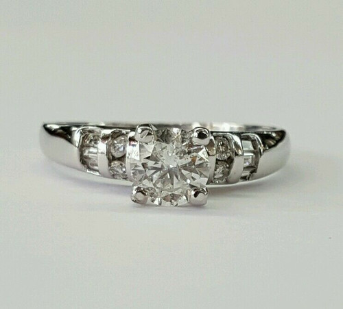 0.65 Ct natural diamond 18k solid white gold solitaire W accents engagement ring