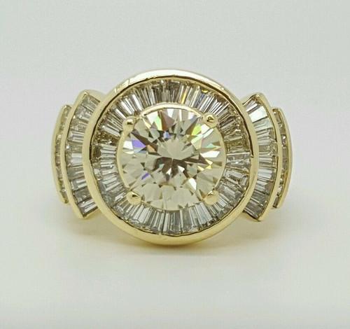 18k Yellow Gold 4.63 Ct Genuine Diamond & Center Round Moissanite Ring Women's