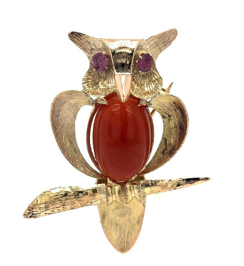 Vintage 10k Yellow Gold 7.58 Ct Natural Red Coral & Ruby Owl Pin Brooch Pendant