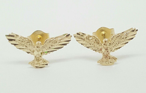 14k Solid Yellow Gold Eagle Bird Stud Earrings Open Wings Eagle Push Back 14MM