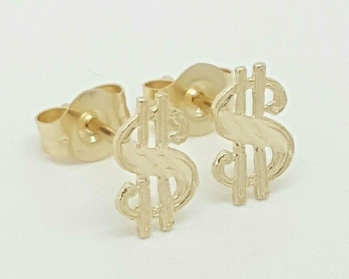 14k Solid Yellow Gold Dollar Sign Stud Earrings Unisex Push Back 7MM