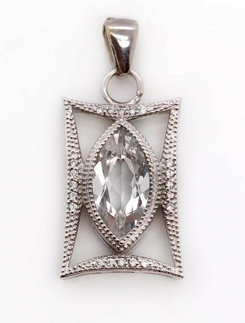 Jude Frances 18K White Gold 2.6 Ct Diamond & Marquise White Sapphire Pendant