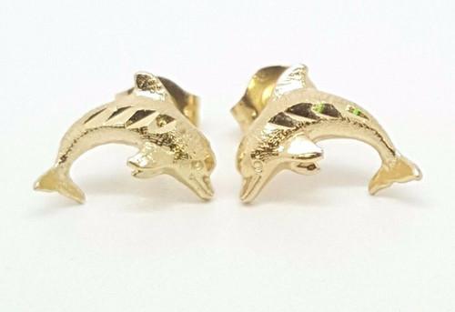 14k Solid Yellow Gold Dolphin Stud Earrings Women/Children Push Back 10MM