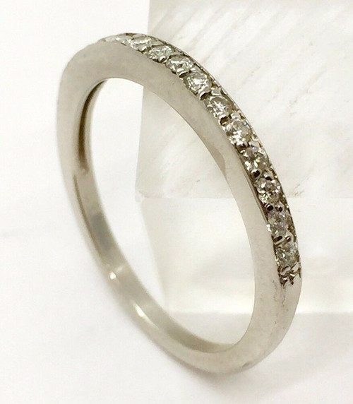 18K Solid White Gold Natural Round Diamond Womens Wedding Band Ring Pave Setting
