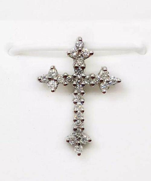14k White Gold 0.26 TCW Natural Diamond Cross Pendant 18 MM Unisex