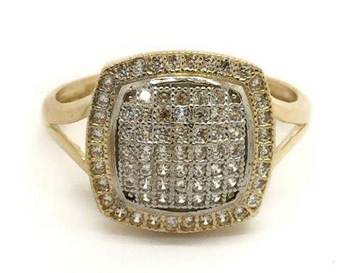 14k Solid Yellow Gold Cubic Zirconia Cushion Halo Pave Women's Ring Size 7