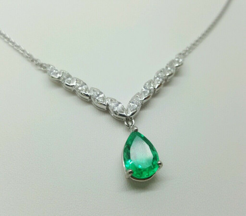 3.64 Ct Natural Green Pear Emerald Marquise Diamond 14k White Gold Drop Necklace