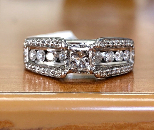 14K Solid White Gold 0.81CT Diamond Engagement Ring Princess Cut & Round SI2, H