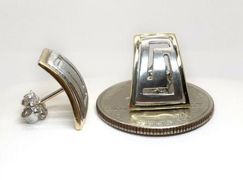 14K Solid Two Tone Gold Greek Key Womens Stud Earrings 15 MM Push Back Butterfly