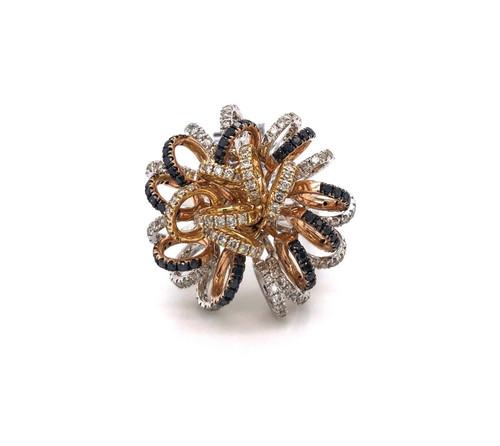14k White,Yellow & Rose Gold 1.81 TCW Natural Diamond Designer Ring SI1-2