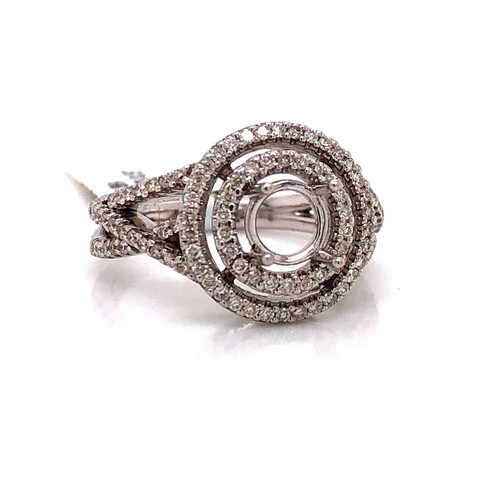 14K White Gold Semi Mount Ring 0.57 CTW Natural Diamond Round 1 Ct Double Halo
