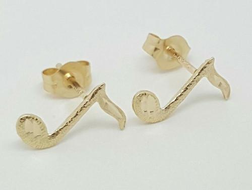 14k Solid Yellow Gold Music Note Stud Earrings Women/Children Push Back 10 MM