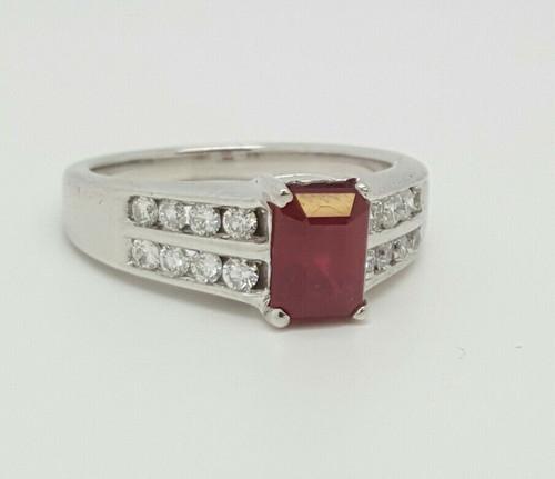 14k White Gold 2.24 TCW Natural Diamond & Emerald Cut Red Ruby Ring G/VS2